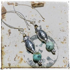 "OneHealingStone Jewelry - Howlite ""turquoise""/Sterling Earwires by Susan Ray"